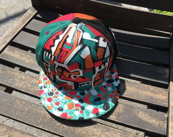 """Hand Painted One of a Kind KBETHOS Baseball Cap """"Skater's Maze"""" by Laz FREE SHIPPING Brand New & Adjustable"""
