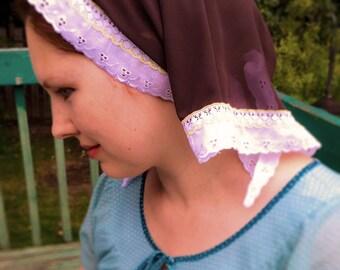 Catholic Mantilla Veil Brown Soft Head Scarf Headwrap Kerchief Chapel Veil Church Veil Modest Headcovering for Daily Use Latin Mass