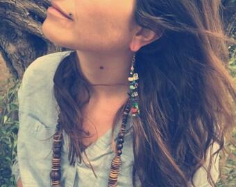 Beaded earring, chain earring, tribal earring, gypsy earring, single earring, boho earring, bohemian earring, aztec earring, strings earring