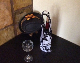 Black and White upcycled wine bag!  Chic and Elegant