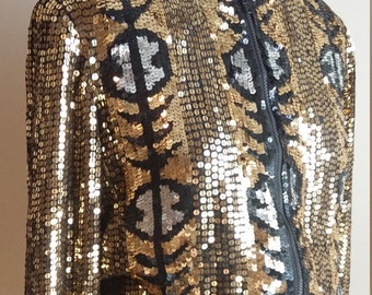 Glam Gold and Black Sequined Silk Jacket Jewel Queen