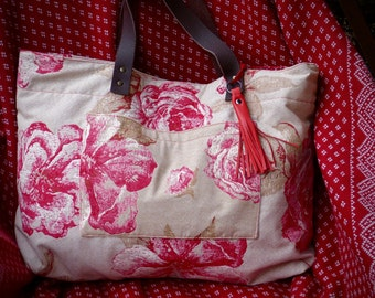 Large tote Toile de Jouy Beige and Red