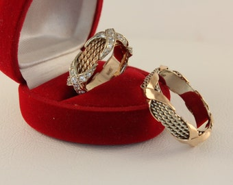 Cross wedding bands, Filigree  unique wedding bands, X Wedding rings set, Modern wedding bands, Wide wedding rings, Ring set His and Her
