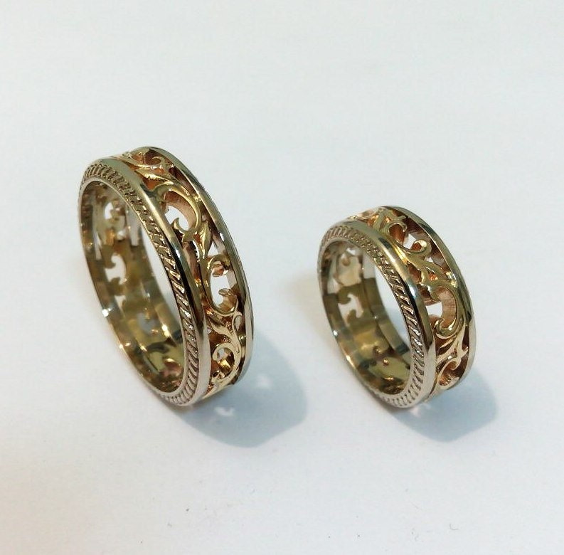 Filigree wedding bands Wedding ring set by WeddingRingsStore