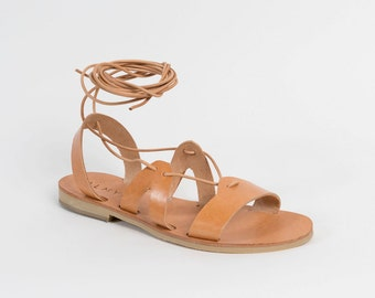 Gladiator leather sandals by Almyra - Tie up/lace sandals/lace up
