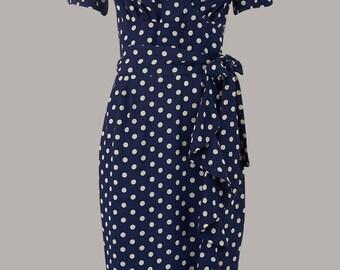 1940's Vintage Inspired Lilian Dress in Navy Spot