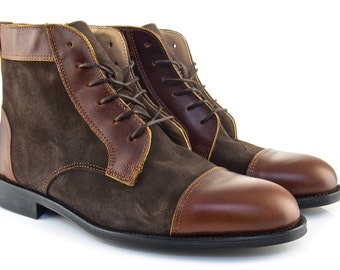 Men Handmade Balmoral Ankle Boots in Brown Leather and Brown Suede - Chocolate Brown Leather and Mocha Brown Suede