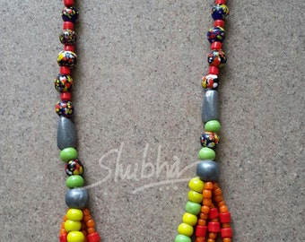 Colourful glass bead necklace