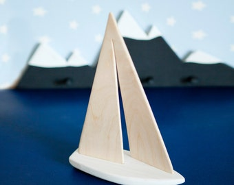 Wood Toy Ship Wooden Sailboat White Sailing boat Wooden Home Decor Nautical Decor Wooden Marine Gift