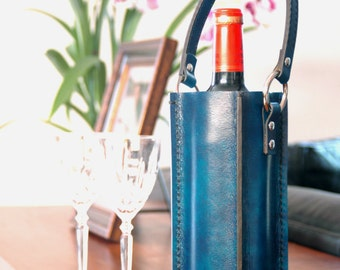 Handmade Deluxe Leather Wine Carrier Tote Bag