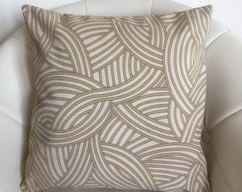 Decorative pillow cover 16x16 Handmade. Tan Printed