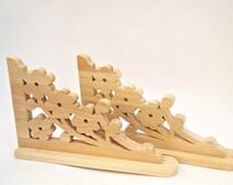 Wooden shelf brackets Wood shelf brackets Handmade Porch Fretwork Trim 2 X flowers style