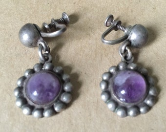 Vintage Mexican Sterling Silver Amethyst Screw Back Earrings. Dangle Amethyst Earrings