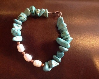 Turquoise Bracelet, Turquoise and Pearl Bracelet, Pearl Bracelet, Rustic Bracelet