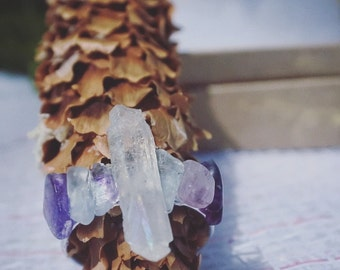 Fluorite chip and Quartz Crystal Ring