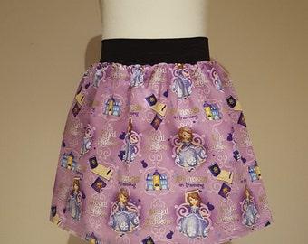 "Kid's Disney Sofia The First / 'Princess in Training' Full Skater Skirt - 2"" Waistband"