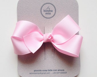 Moletta Pink grosgrain Ribbon snowflake-Grosgrain Ribbon Hair Bow