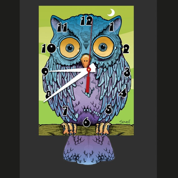 Owl Clock with Swinging Tail Pendulum • Hoot Owl Clock