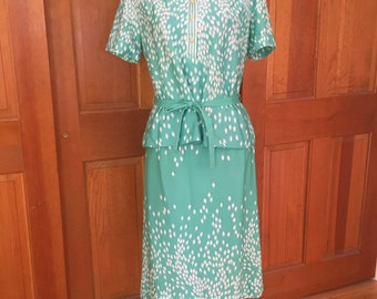 Vintage Women's Silky Polyester Skirt and Top Set, 70's Green and White Skirt Set with Tie Belt, Lady Carol of New York