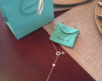 Beautiful Tiffany & Co. Sterling Silver Heart Lariat Necklace