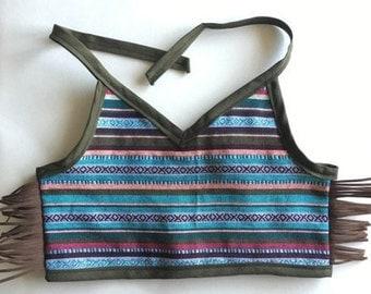 navajo style halter crop top with fringe summer boho baby crop top