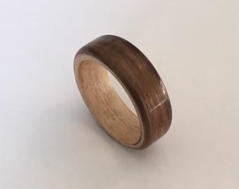 Walnut - Maple Wooden Ring, Handmade