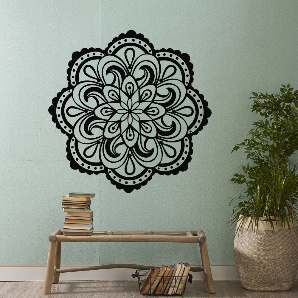 mandala vinyl wall decal sticker mandala wall art yoga. Black Bedroom Furniture Sets. Home Design Ideas