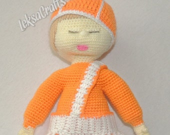 Baby my first Doll Orange, Blanket, toys, sweet baby doll, Baby shower gift, newborn gift, baby girl gift
