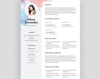 "Resume Template / CV Template + Cover Letter for MS Word and Photoshop | Instant Digital Download - ""Iris"""