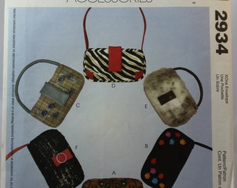 McCall's 2934 Fashion Accessories Sewing Pattern Six Bags With Different Finishes / Purse / Purses / Bag / Handbag / Handbags / Teen / Teens