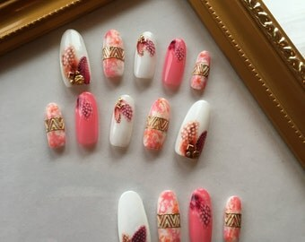 Native American's Pink Feather Nails Art