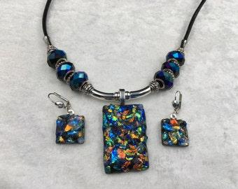 Black Dichroic Confetti Jewelry Set
