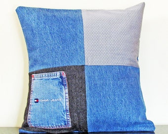 Throw Pillow Cover, Decorative Pillow Cover, Denim Pillow Cover, Gift for Dad, Blue Cushion Cover, 16x16 Pillow, Accent Pillow, Handmade