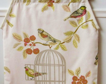 Luxurious birdcage fabric homemade knitting / yarn / craft / project bag