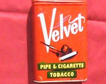 Vintage 1930's - 1940's Velvet Pipe and Tobacco tin