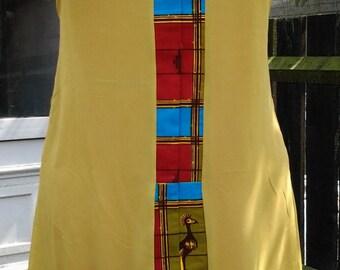 Lime Green Chiffon Sleeveless Shift Dress/Tunic with Ankara