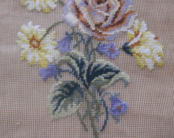 "Vintage pre-worked needlepoint. 18""x18"" Bouquet, main colors – yellows, purples, greens."