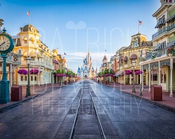 Empty - Main Street USA Photo Print, Canvas Wrap, Magic Kingdom, Walt Disney World, Cinderella Castle