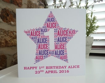 Personalised 1st Birthday Card (Girls), Personalised Card, Personalised Word Art Card, Special Card, Personalised Birthday Card