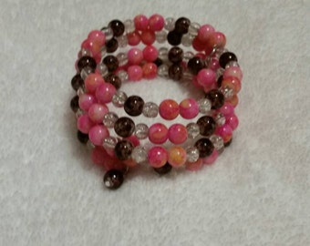 Wrap bracelet, pink and brown bracelet, memory wire bracelet, beaded bracelet, wrap bracelet, multi-loop bracelet, slinky bracelet, OOAK