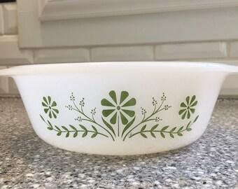 Glasbake casserole dish green floral design, vintage bakeware, vintage casserole dish