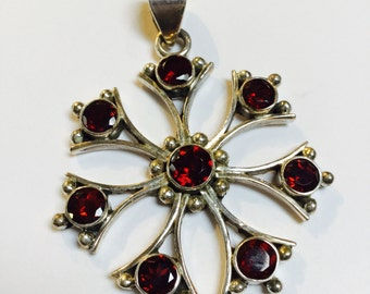 Sterling Silver and Faceted Garnet Pendant - 1 piece - #518