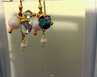 Pearl crystal beads dangle earrings