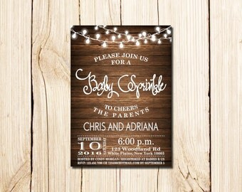Baby Sprinkle Invitation, Rustic Baby Sprinkle Invitation, Baby Girl Sprinkle Invitation, wooden