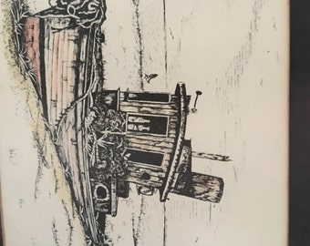 Framed Pen & Ink Art Drawing of Tug Boat Signed - Don Russell