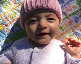 Tunisian Crochet Baby Hat in Soft Pink