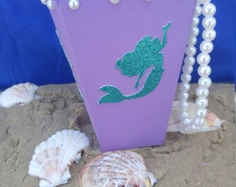 Mermaid Popcorn Box, Mermaid Party Favor, Under the Sea Party Favor, Under The Sea Popcorn, Mermaid Party Decor, Under The Sea Decor
