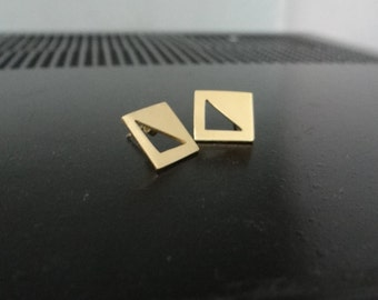 square stud earrings with a triangle inside