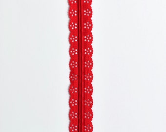 "Red Lace Zipper - Christmas Sewing - Red Zipper - 8"" Zipper - Purse Zippers - Bag Zippers - YKK Zipper - Lace Zipper - Bag Zipper - Zippers"