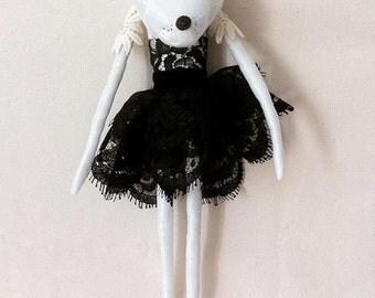 Unique monochrome art doll - Tina the wolf lady